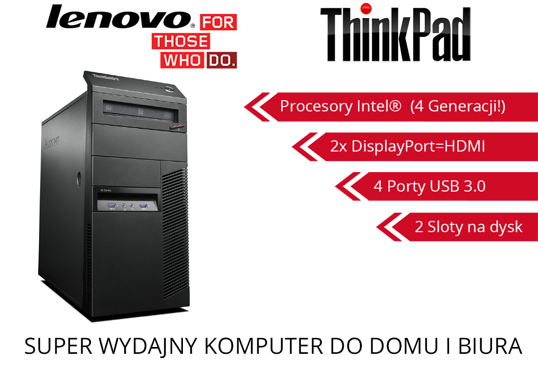 Lenovo ThinkCentre M83 G3220 4GB DDR3 500GB USB 3.0 Windows 8 Pro, 7 lub 10